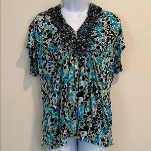 Heart Soul Short Sleeve V-Neck Shirt  Size 3X
